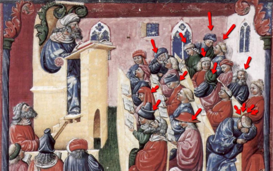 """Ilustracja z 14 wieku, manuskrypt przedstawia władcę - """"Henry of the Germany"""" dającego wykład studentom na Uniwersytecie Bolońskim! Autorem jest Laurentius de Voltolina, tytuł dzieła """"Liber ethicorum des Henricus de Alemannia"""". Scena: Henricus de Alemannia con i suoi studenti. Oryginał do obejrzenia w muzeum w Berlinie."""